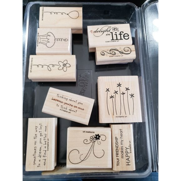 Stampin Up Thoughts and Prayers Lot of 10 wood stamps